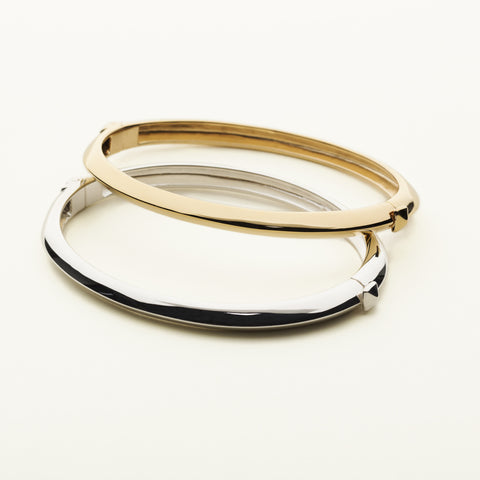 Stud lock bangle - silver