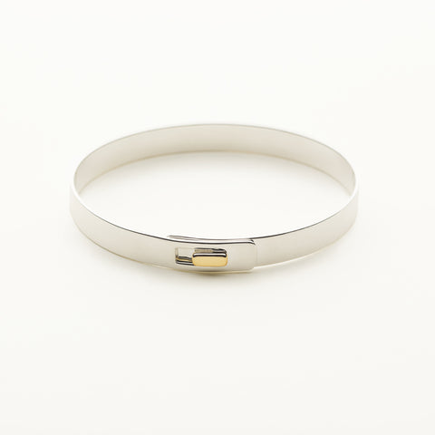 Click bracelet with 18k gold square lock - silver