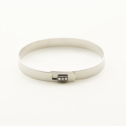 Click bracelet with silver square lock and 3 diamonds - silver with diamonds