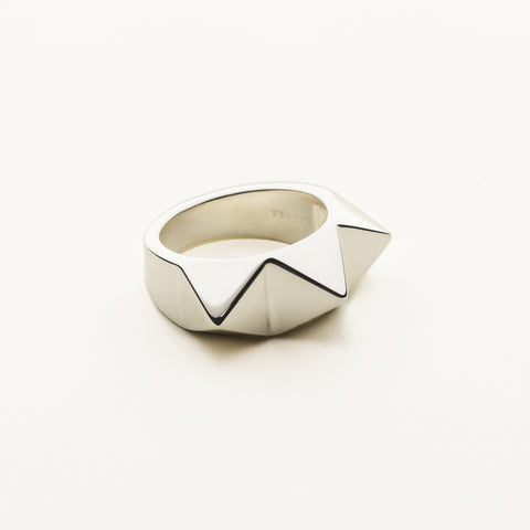 3 stud ring - silver