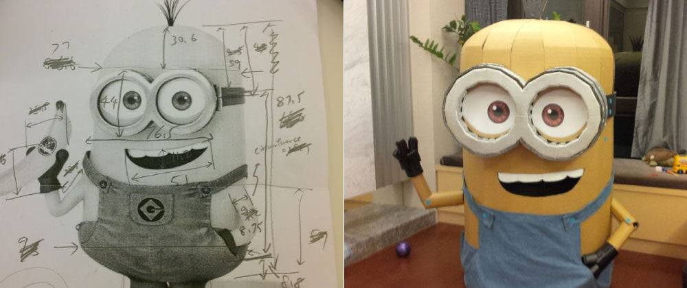 Makedo cardboard Minion costume