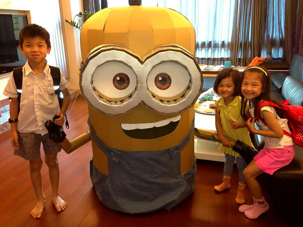 makedo cardboard minion costume with kids