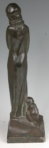 Standing Girl with Crouching Monkey by Donald Gilbert