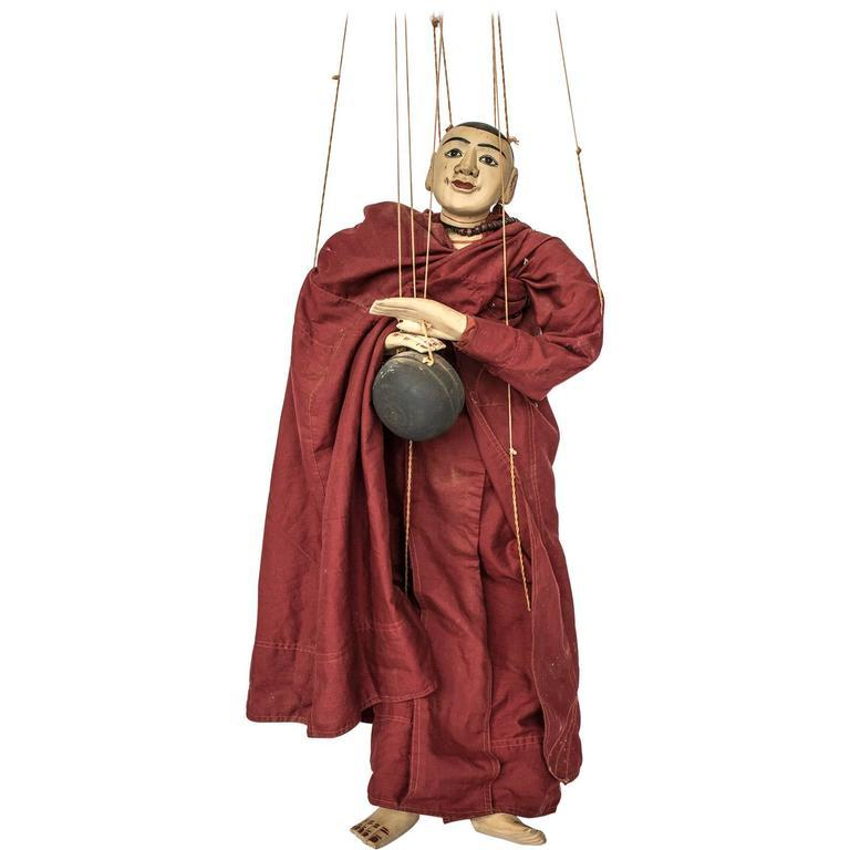 20th Century Burmese Buddhist Monk Marionette - A Modern Grand Tour