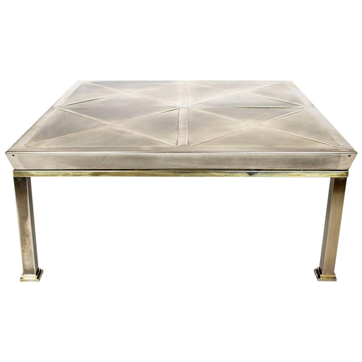 Mid-Century Modern Brushed Brass Coffee Table