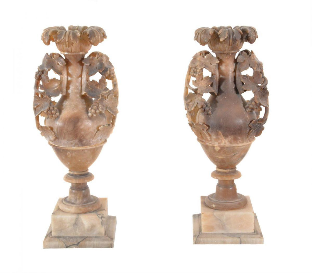 A Pair of Italian Turned and Carved Alabaster Vases - A Modern Grand Tour