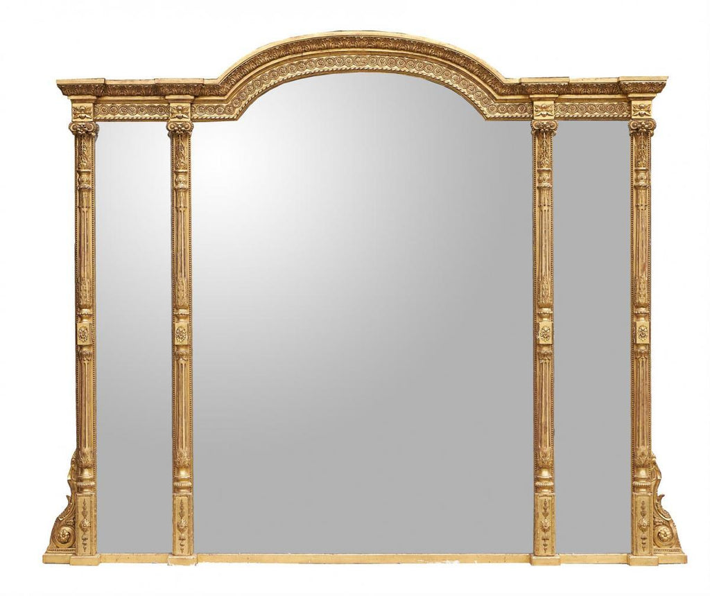 A Large Victorian 1870 carved giltwood overmantel mirror