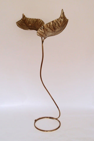 1970s Brass Leaf Floor Lamp by Tommaso Barbi