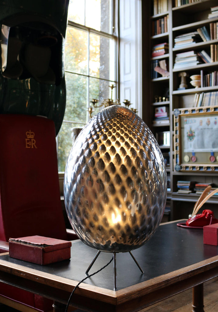 Silver Murano Glass Egg Lamp - A Modern Grand Tour