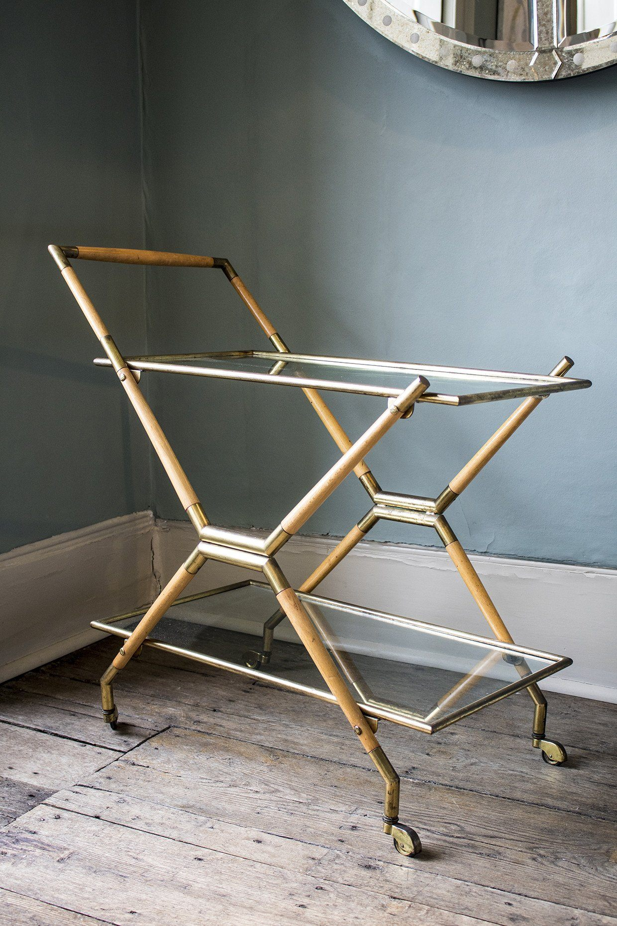 Cesare Lacca, a brass and glass two tier bar cart, Italy, c.1950s