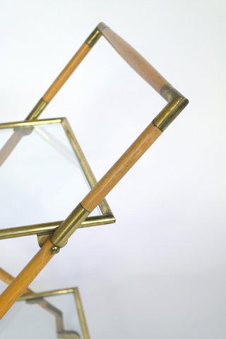 Italian Brass Bamboo and Glass Trolley