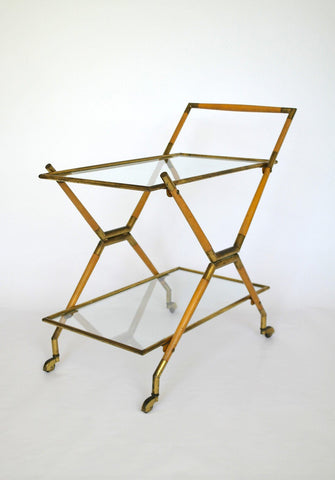 Cesare Lacca, a brass and glass two tier bar cart, Italy, c.1950s - A Modern Grand Tour