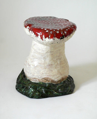 Hand-Painted French Mushroom Stool Seat