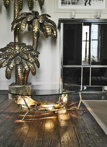 Illuminating Sculptural Bird Coffee Table in Agate and Brass