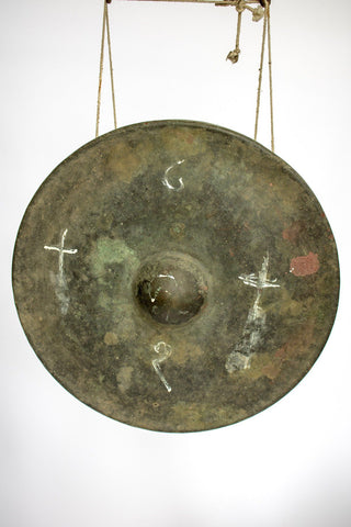 Unusual Burmese Gong with Carved Teak Statues