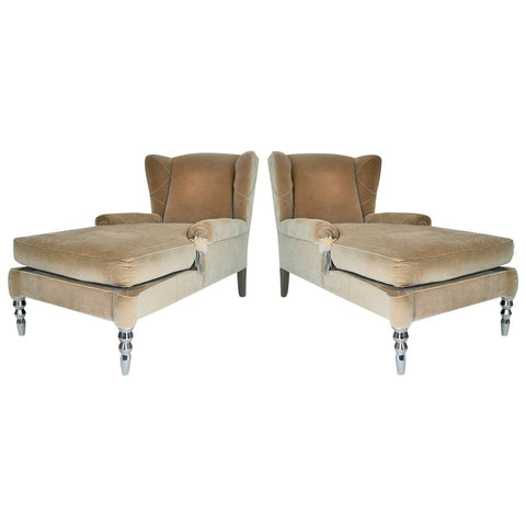 PAIR OF WINGBACK CHAISE LONGUES BY ROBERTO CAVALLI