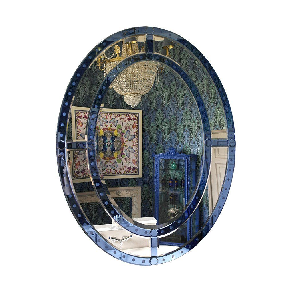Magnificent Blue Venetian Oval Mirror
