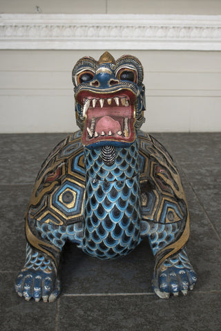 20th Century Softwood Hand Carved Chinese Mythical Dragon Tortoise Sculptures