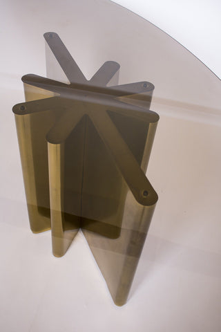 Bronze Star Form Smoke Glass Elliptical Table