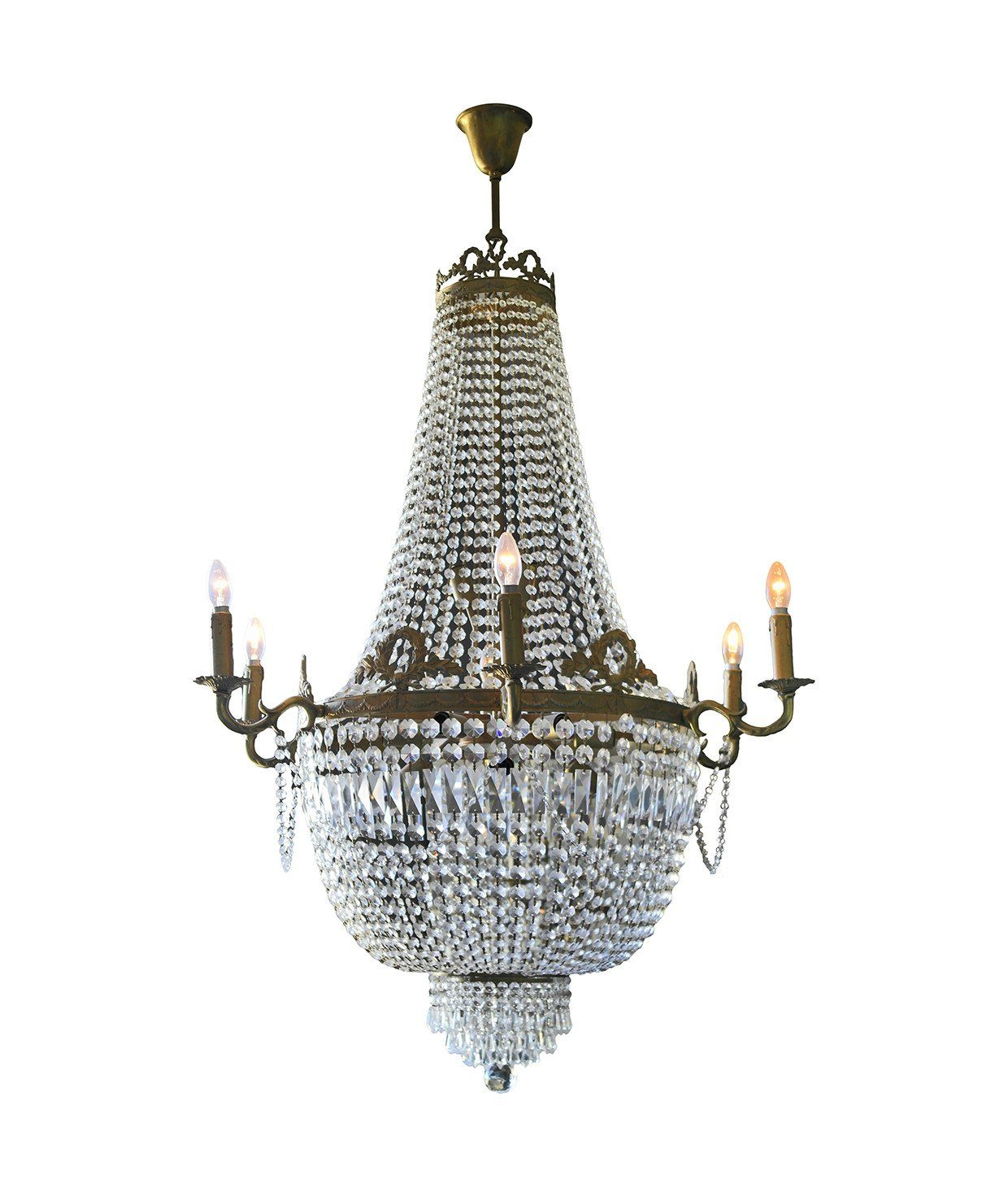 Elegant Crystal and Brass Chandelier