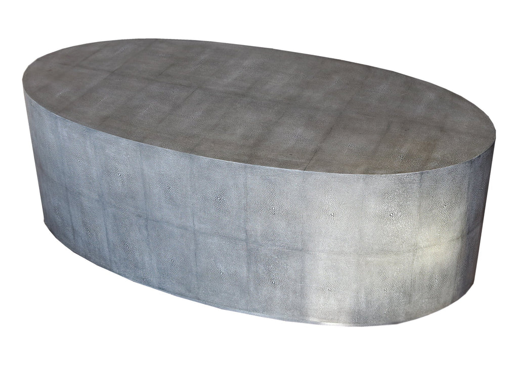 Faux Shagreen Veneered Oval Table - A Modern Grand Tour