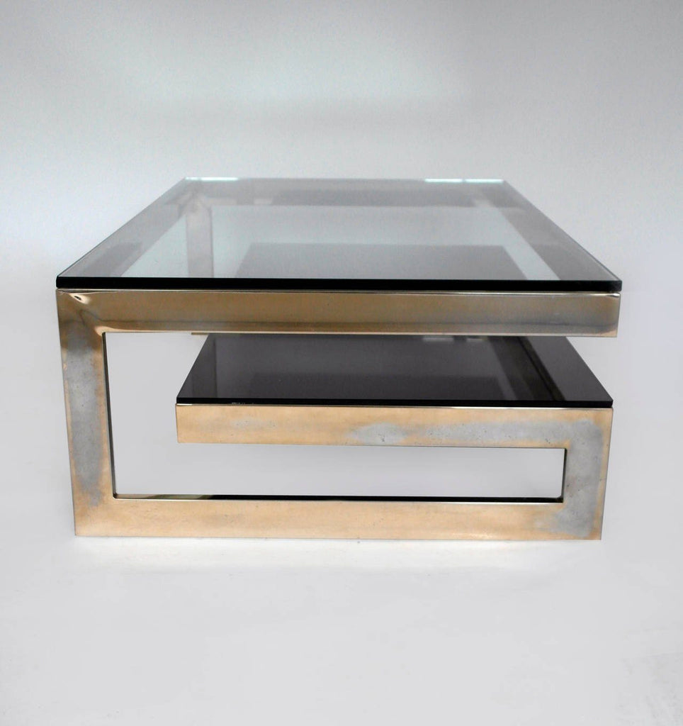 Cantilevered Gold & Smokey Glass Coffee Table - A Modern Grand Tour