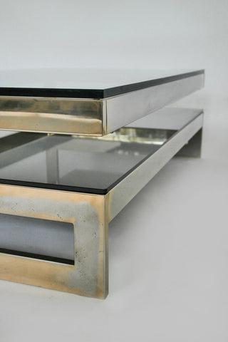 Cantilevered Gold & Smokey Glass G Coffee Table