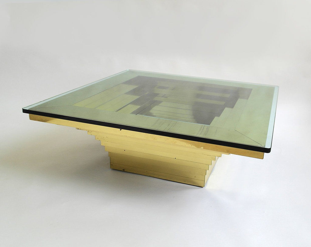 Hollywood Regency Brass Finish Graduated Glass Table 1970's by Paul Evans - A Modern Grand Tour