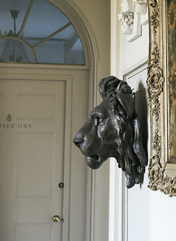 A bronzed Plaster Minton Fountain Lion Head