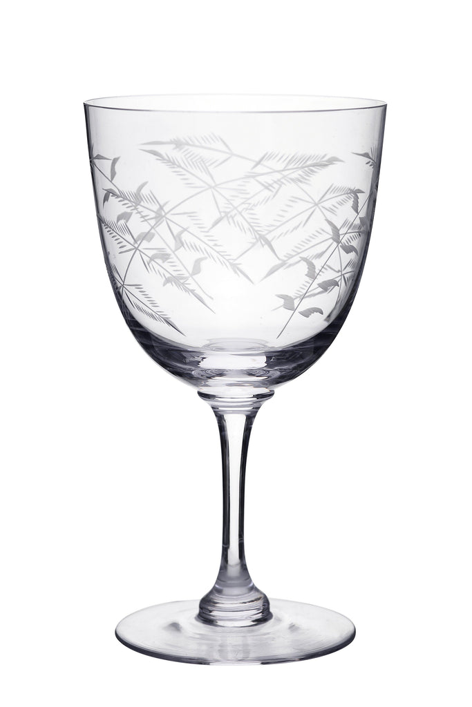 A Set Of Six Fern Engraved Crystal Wine Glasses - A Modern Grand Tour