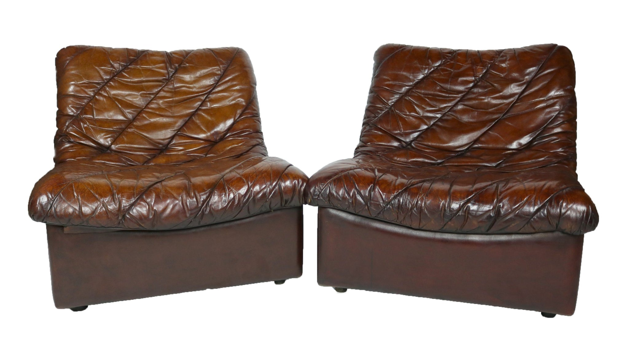 1970s Pair of Brown Leather Easy Chairs