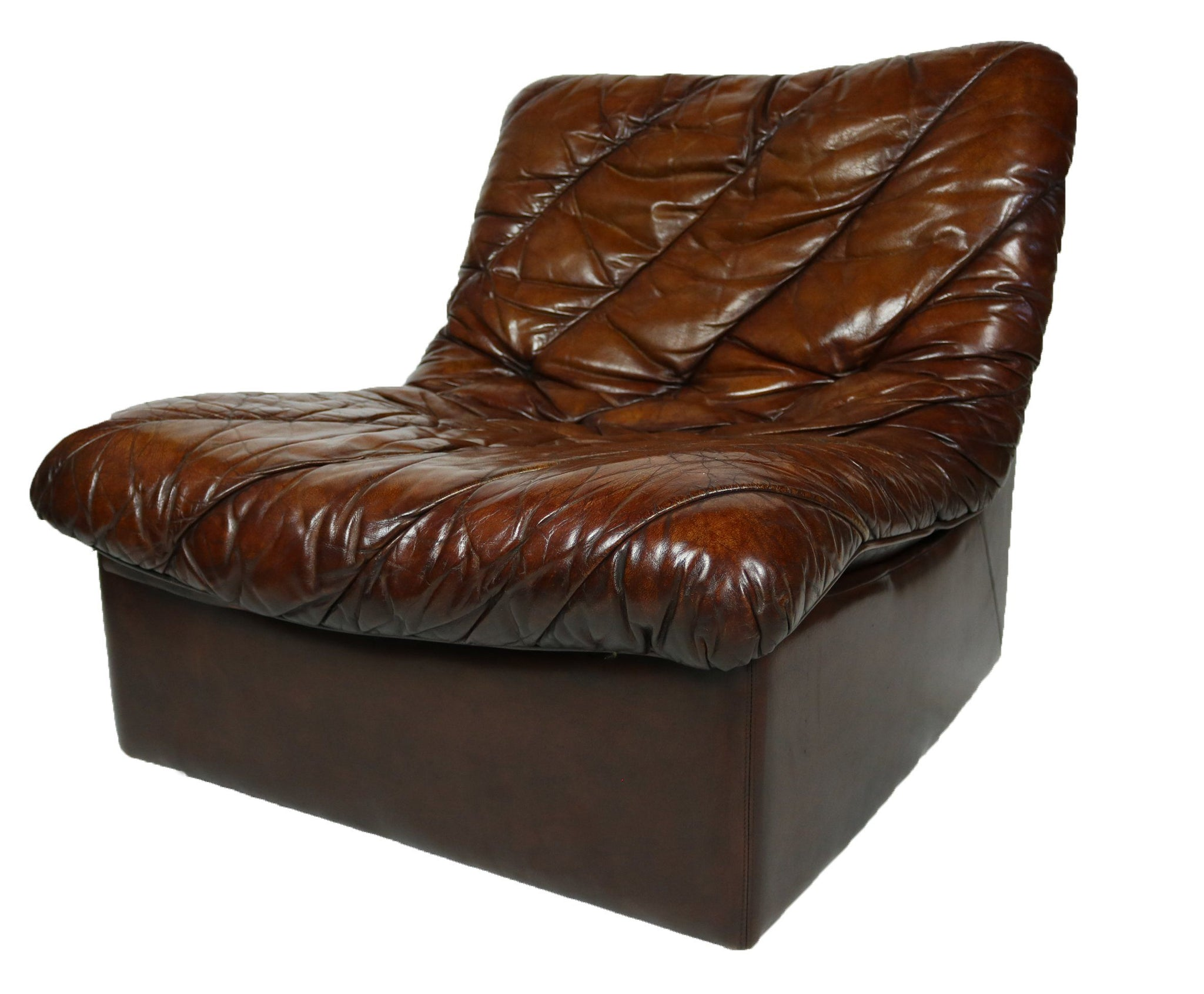 1970s Pair of Brown Leather Easy Chairs - A Modern Grand Tour