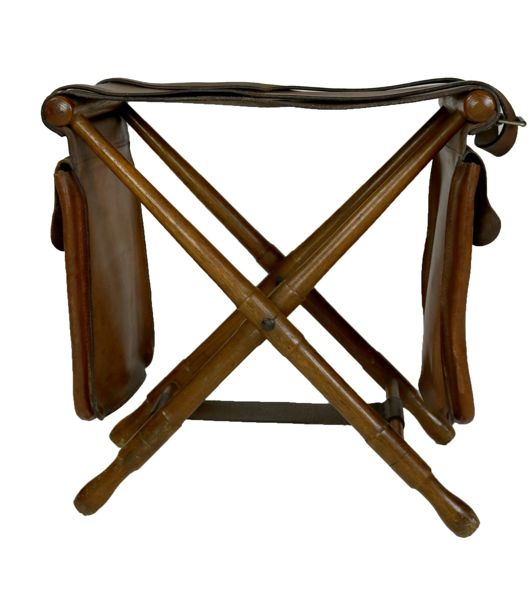 Brown Leather Fishing Stool