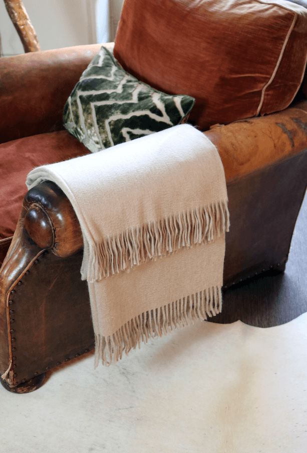 Lambswool Angora Throw Mushroom - A Modern Grand Tour