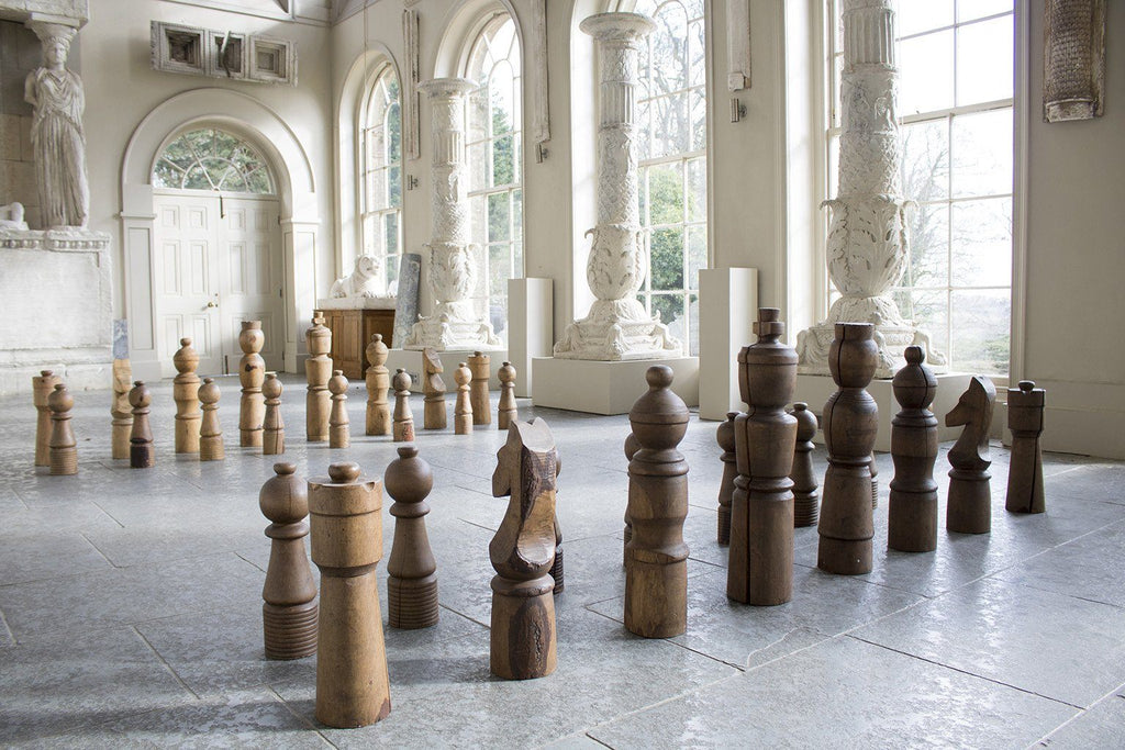 Late 20th Century Monumental Chess Set in Turned Oak and Ash - A Modern Grand Tour