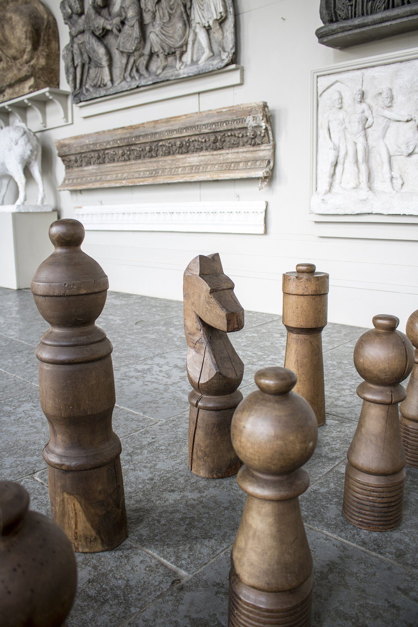 Late 20th Century Monumental Chess Set in Turned Oak and Ash