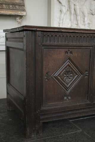 18th Century English Oak Coffer Blanket Box