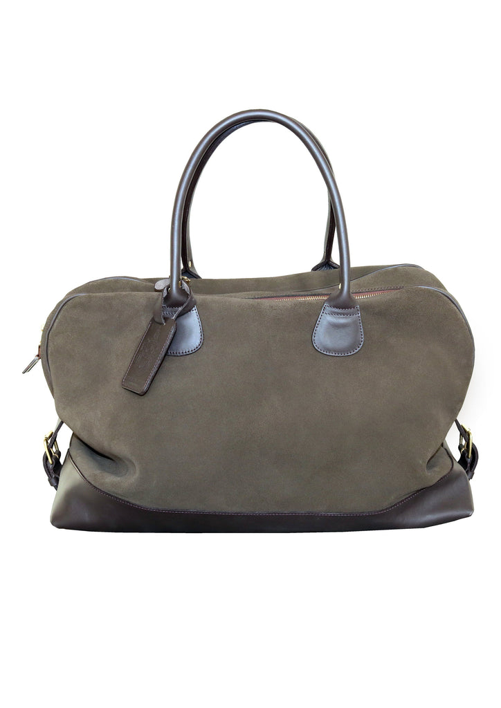 Large Aynhoe Overnight Bag in Moss Suede - A Modern Grand Tour