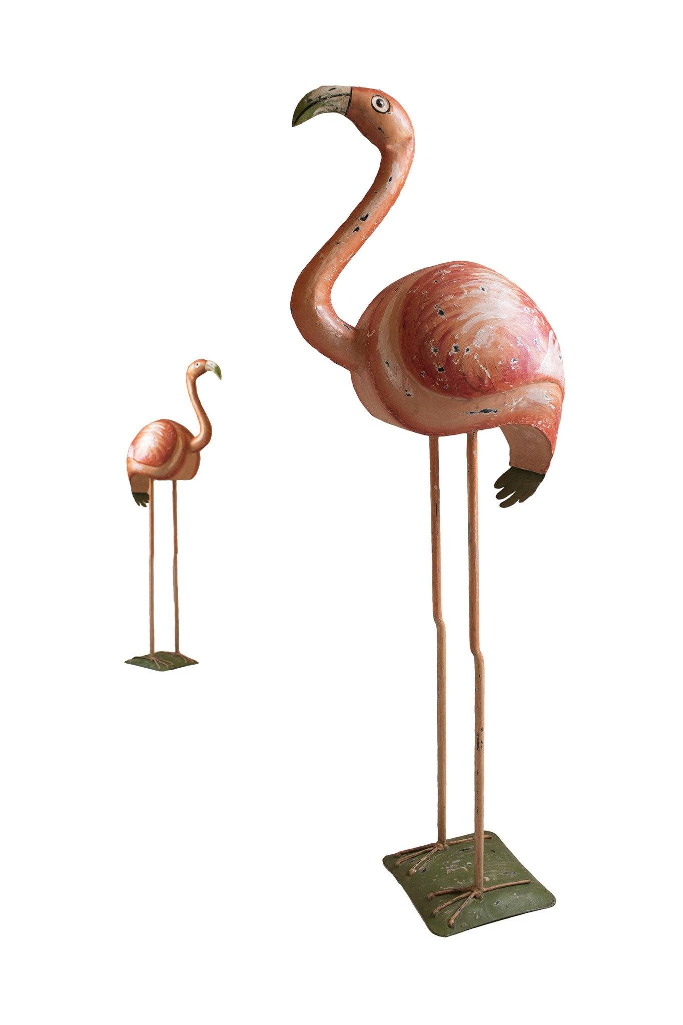 Hollywood Regency Vintage Flamingo Sculpture - Hand Painted Metal Statue