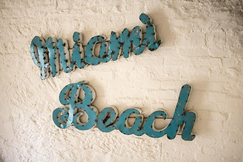 Huge Mid-Century 'Miami Beach' Vintage Metal Sign