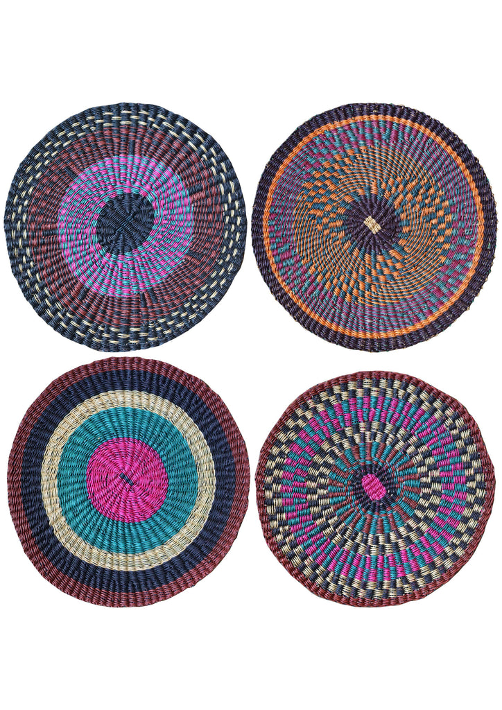 Set of Four Multi-coloured Handmade Woven Placemats - A Modern Grand Tour