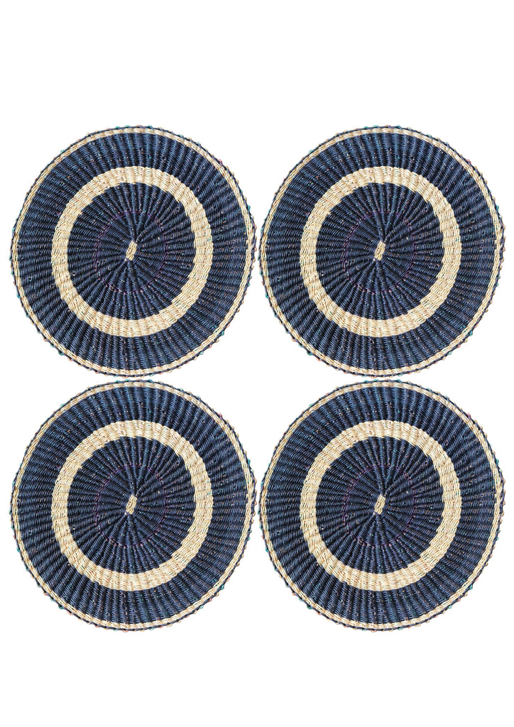 Set of Four Navy and Neutral Handmade Woven Placemats - A Modern Grand Tour