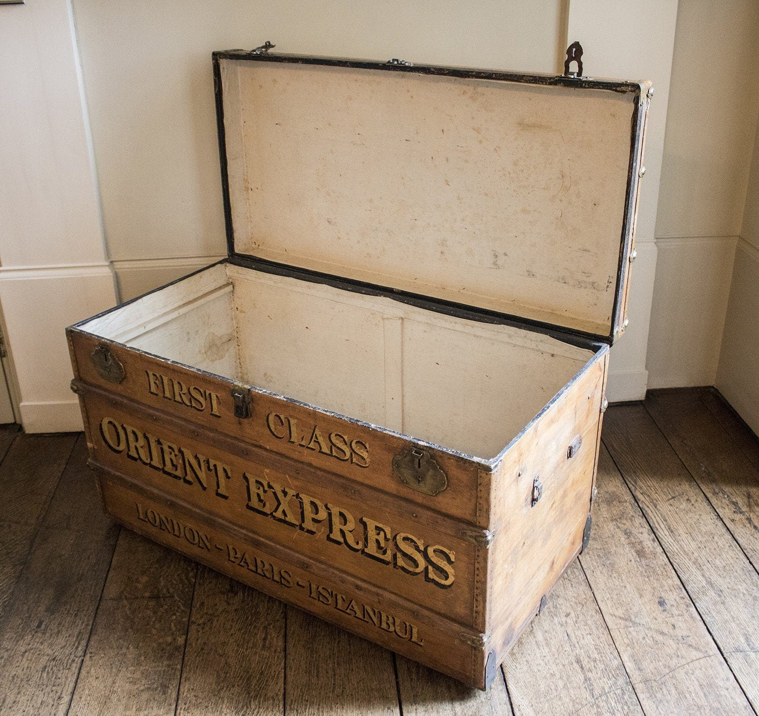 Early 20th Century Steamer Trunk Orient Express