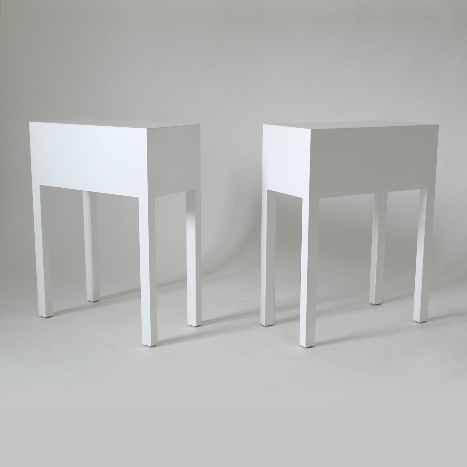 Pair of White Cube Tables