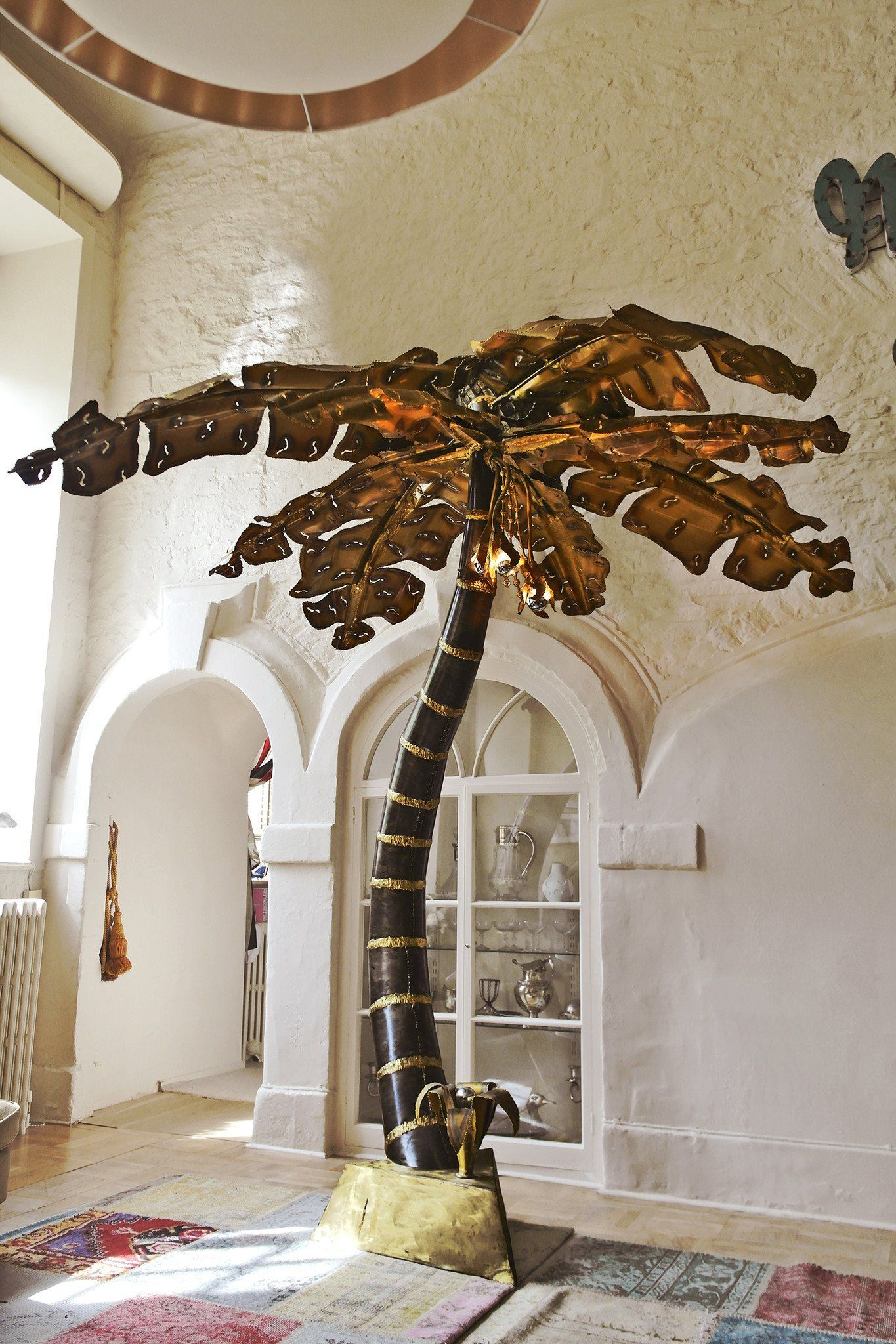 Superb Giant Brutalist Palm Tree Floor Lamp