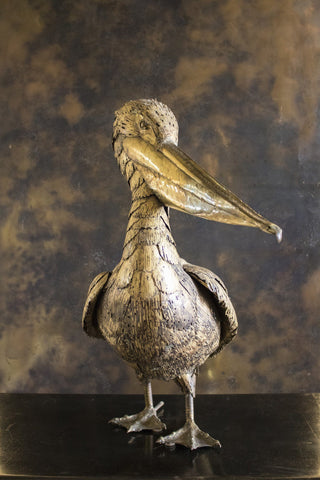 Brass Study of a Stylised Pelican
