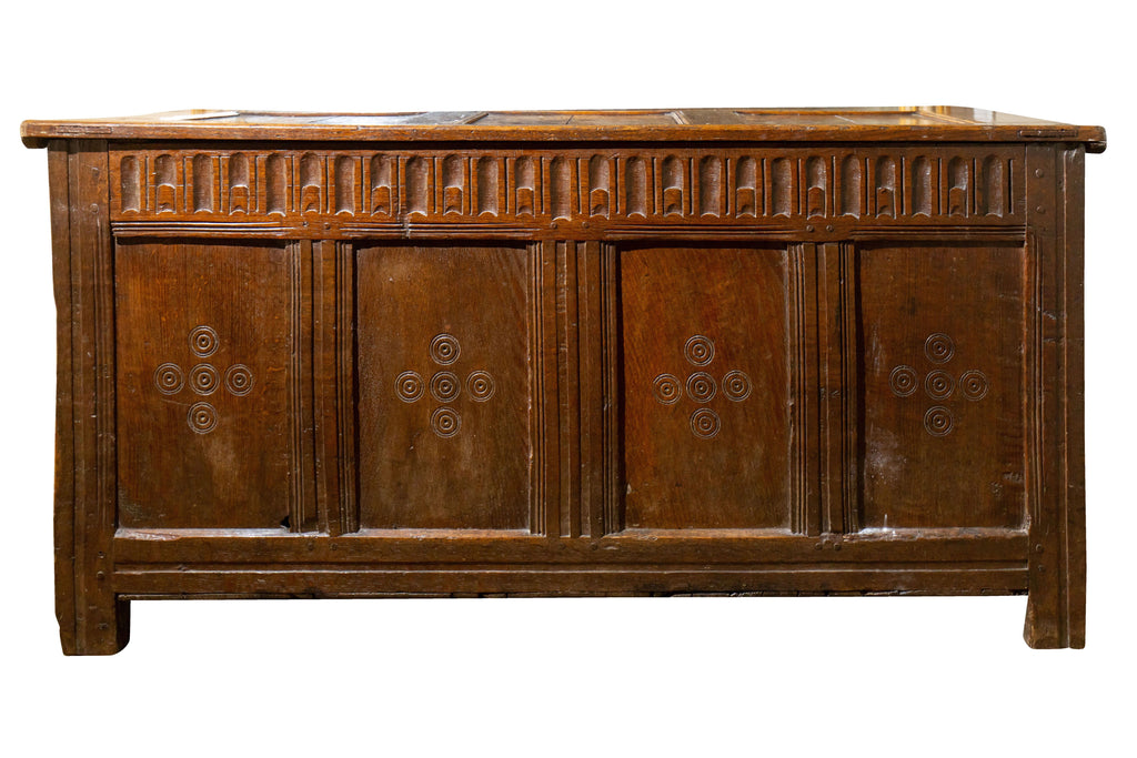 A George III Carved Oak Four Panel Coffer