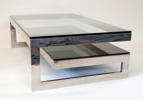 Cantilevered Chrome & Smokey Glass G Table