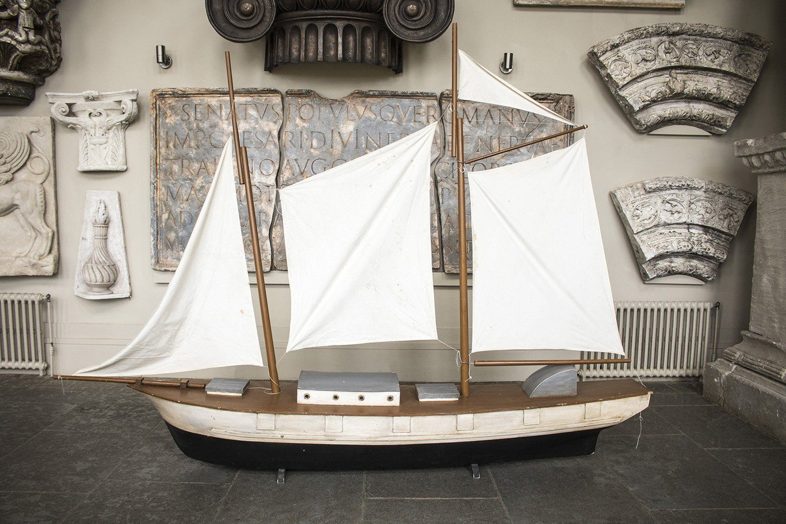 Monumental Hand-Painted Model Boat Maquette