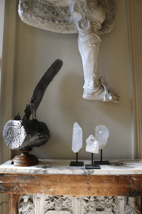 Set of Three Clear Quartz Crystals Mounted on Black Metal Stands - A Modern Grand Tour